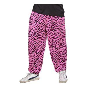 80-tals Baggy Byxor Zebra Rosa - X-Large