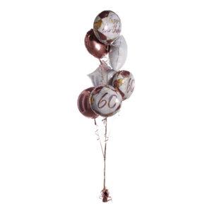 Ballongbukett Marble Birthday 60 Roséguld