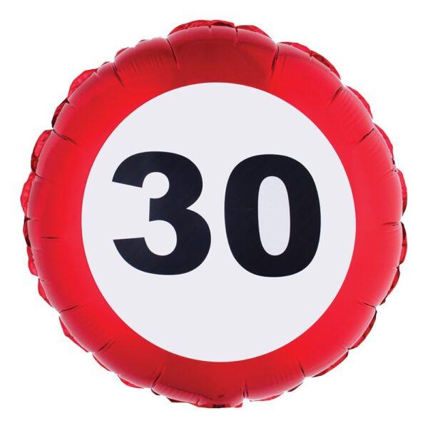 Folieballong Trafikskylt 30