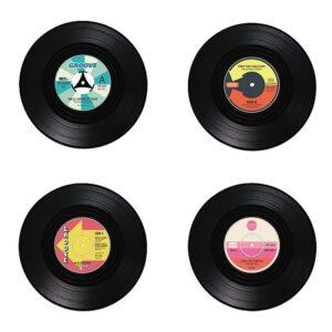 Glasunderlägg Vinylskivor - 4-pack