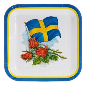 Papperstallrikar Svenska Flaggan Kvadrat - 8-pack