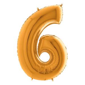 Sifferballong Guld Metallic - Siffra 6