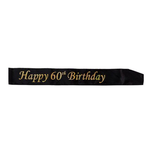 Ordensband Happy Birthday Svart/Guld - 60
