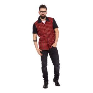 Rockabilly Skjorta Röd/Svart Herr - Large