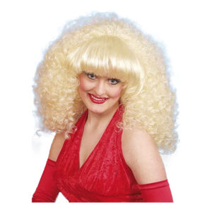 80-tals Blond Peruk med Lockar - One size